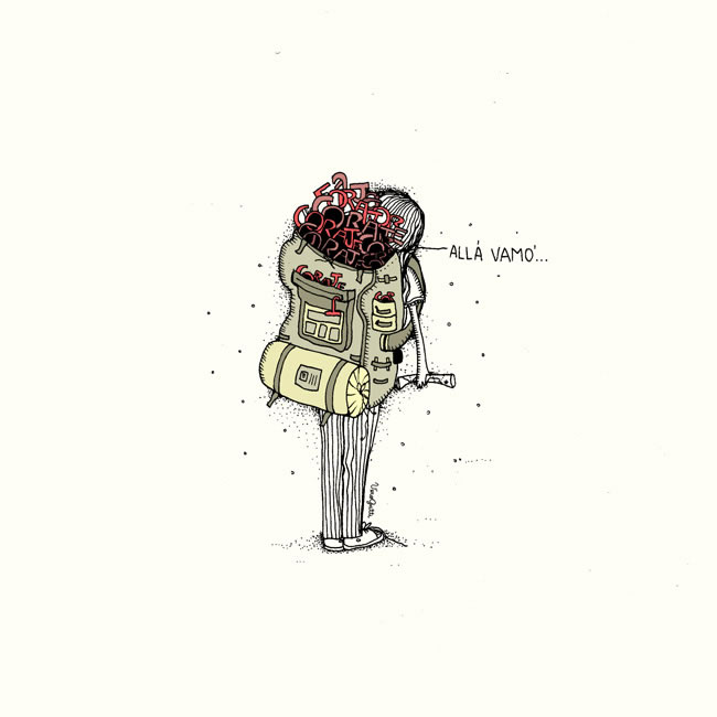 Esta lindísima ilustración es de mi amiga vero gatti. Siento que representa eso que siento cuando me pongo una mochila y decido enfrentarme al mundo... Pueden ver más de sus trabajos en http://verdesvueltitas.blogspot.com