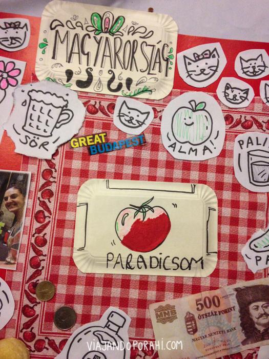 """Collage que hicimos el último día de clases. Tomate se dice """"paradicsom"""" (que en húngaro también significa paraíso). """"Alma"""" es manzana. Gato se dice """"cica"""" (se pronuncia tsitsa), """"sör"""" es cerveza y pálinka es un trago que seguro les van a hacer probar si vienen para acá."""