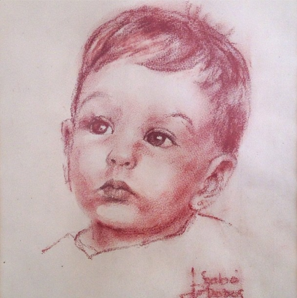 Y así me retrató a mí cuando era bebé.