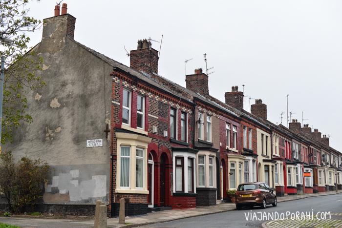 Calle típica de los suburbios de Liverpool