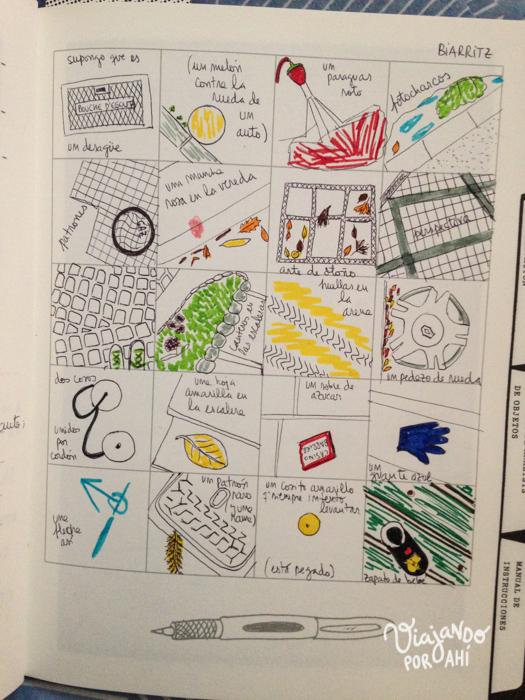 """Y más cosas que dibujé acá (este es un ejercicio del libro """"Acaba este libro"""" de Keri Smith)"""