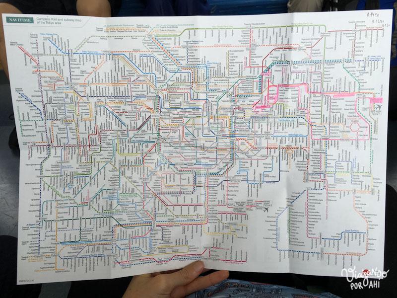 El mapa de trenes de Tokio